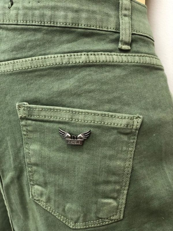 Khaki High Waist Frayed Hem Denim Shorts