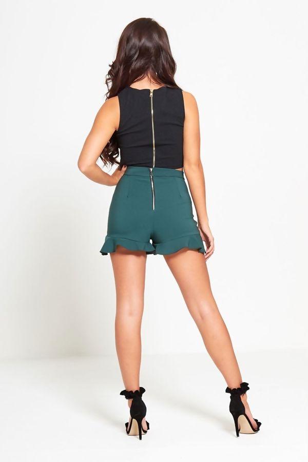Khaki High Waist Frill Hem Shorts