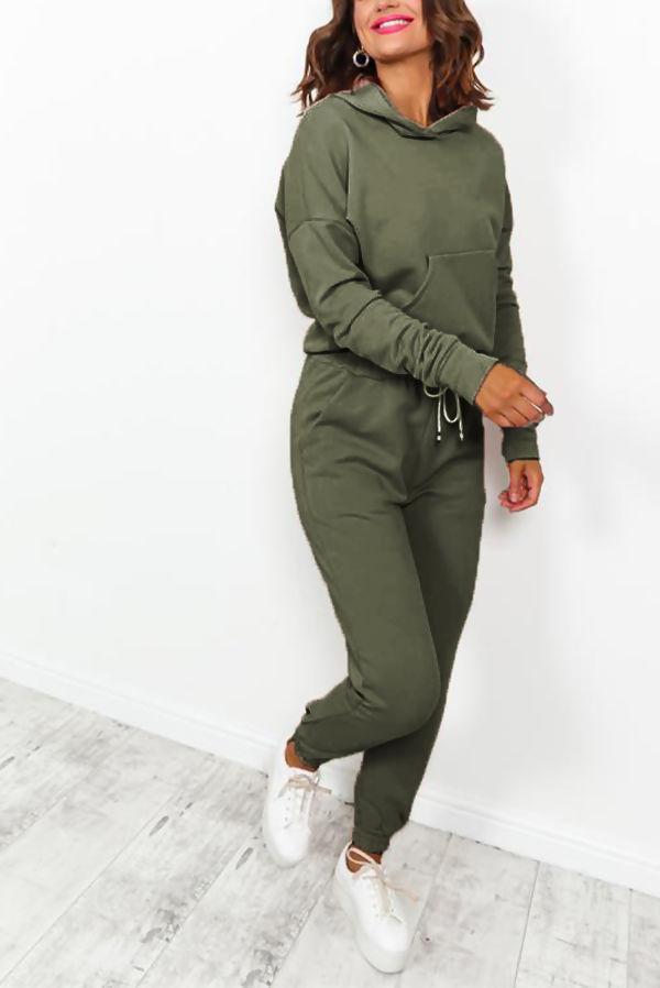Khaki Hood Lounge-wear Set