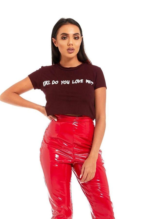 Khaki Kiki Do You Love Me Crop Top