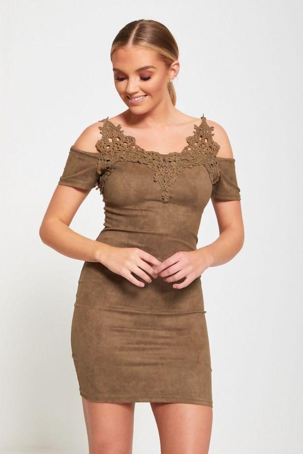 Khaki Lace Applique Cold Shoulder Suede Mini Dress
