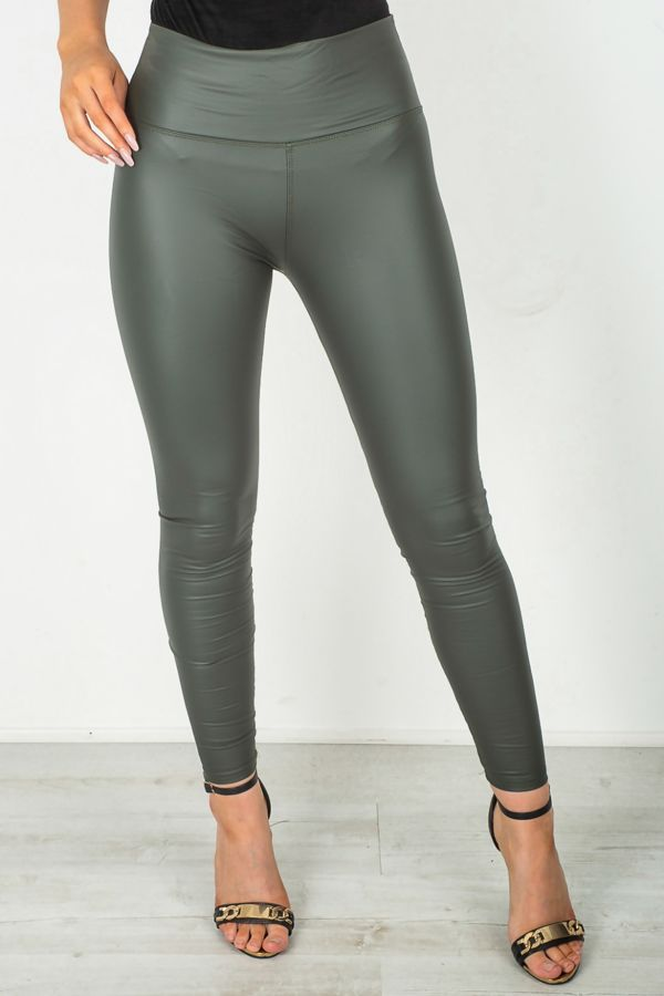 Khaki Leather Look High Waist Leggings