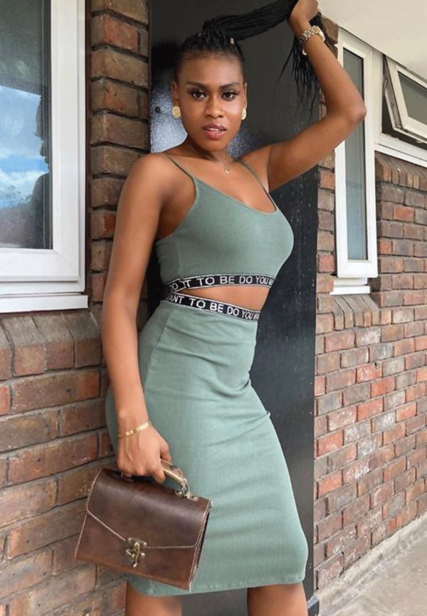 Khaki Logo Trim Ribbed Crop Top And Skirt Set