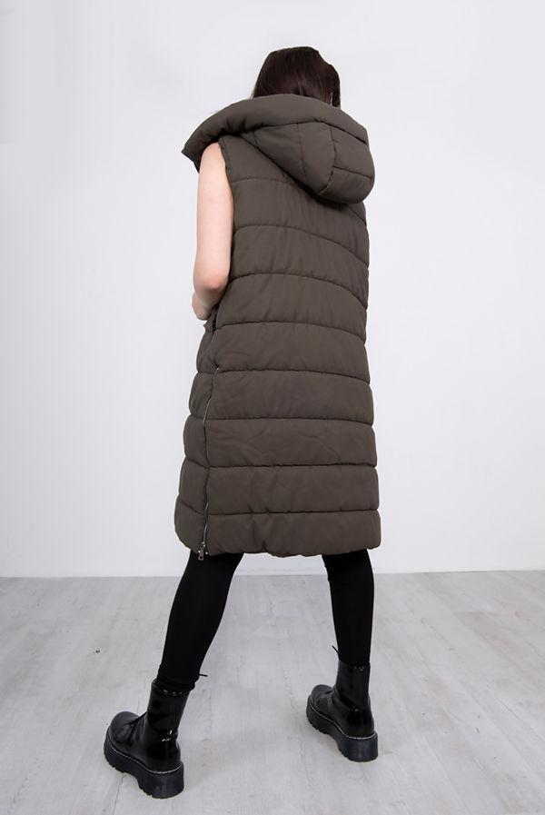 Khaki Longline Hooded Puffer Gilet