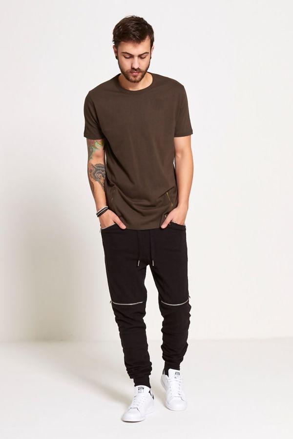 Khaki Longline Zipper T-Shirt