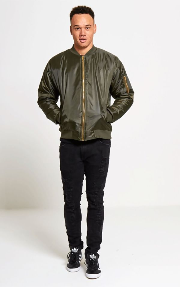 Khaki MA1 Bomber Jacket Zip Up Biker Jacket