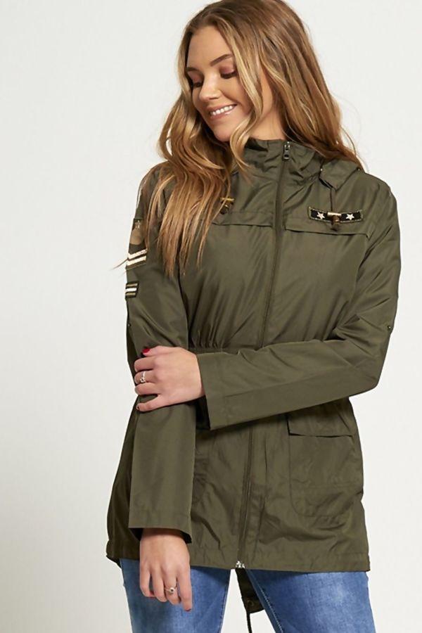 Khaki Military Patch Light Weight Jacket