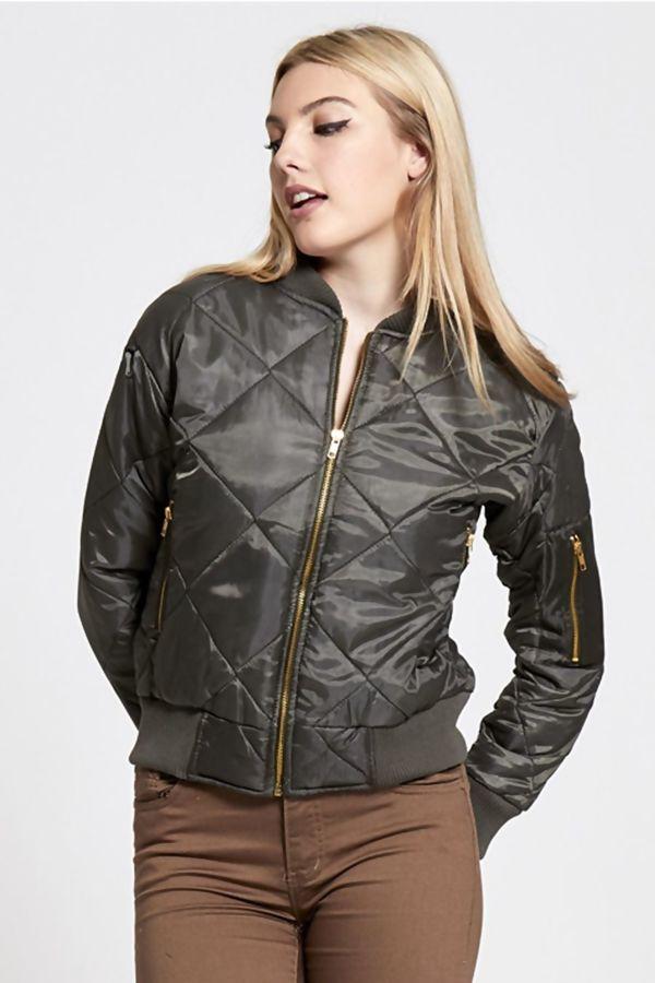 Khaki Olivia Quilted Bomber Jacket