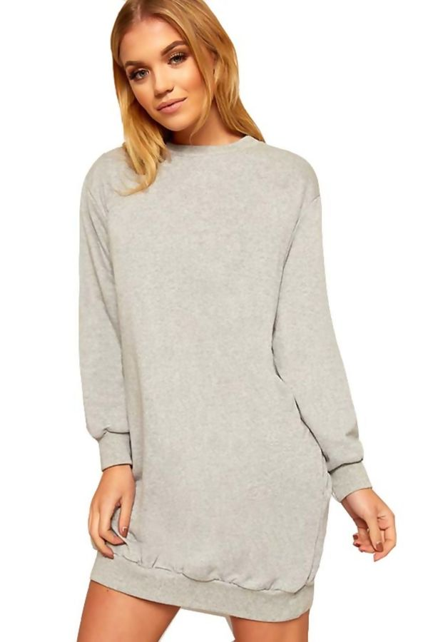 Khaki Oversized Pocket Sweat Dress