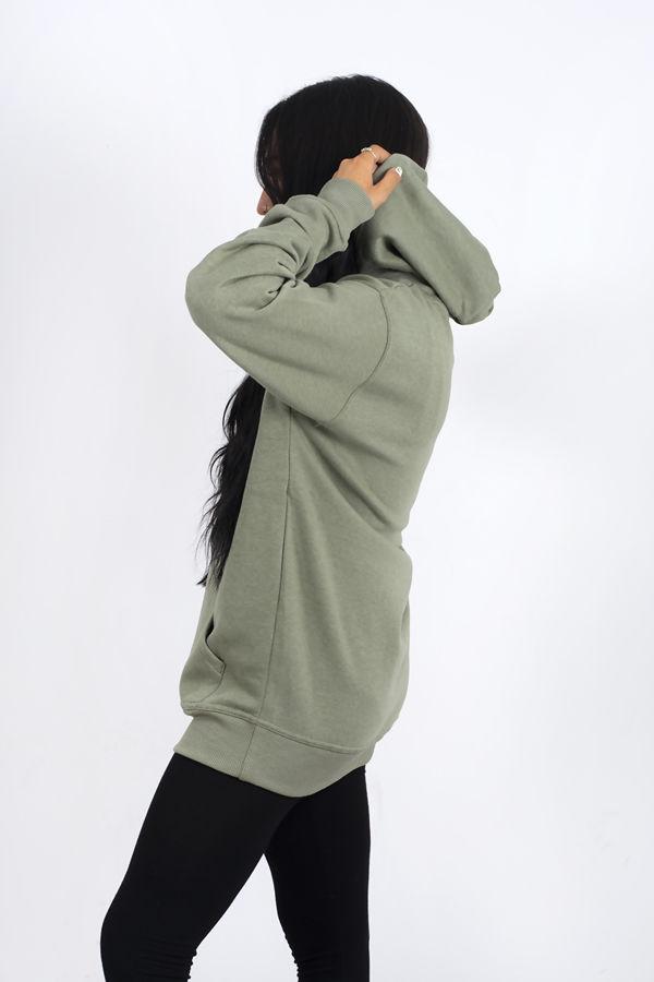 Khaki Oversized Pullover Hoodie