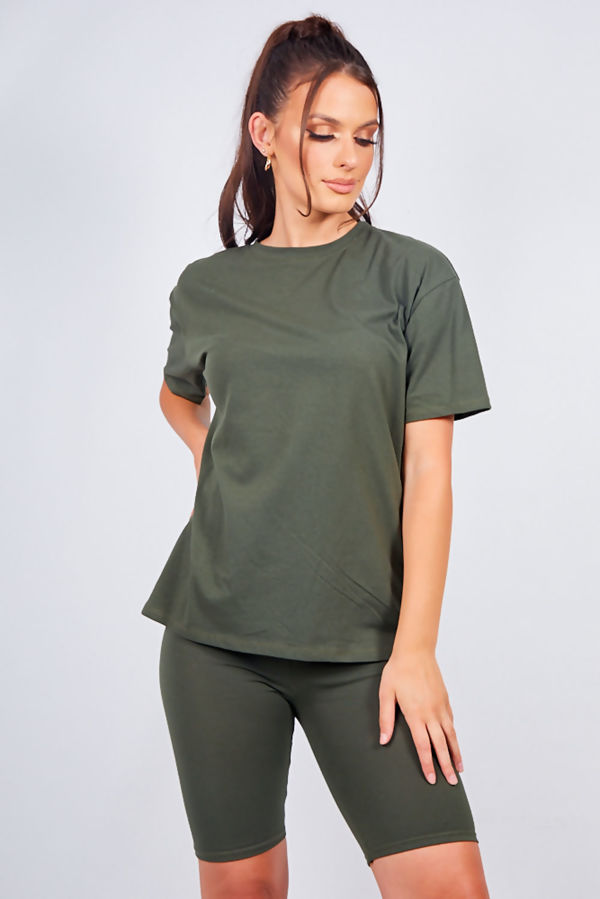 Khaki Oversized T-shirt and Cycling Shorts Set