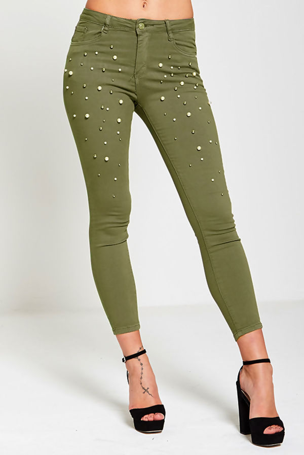 Khaki Pearl Embellished Skinny Fit Jeans
