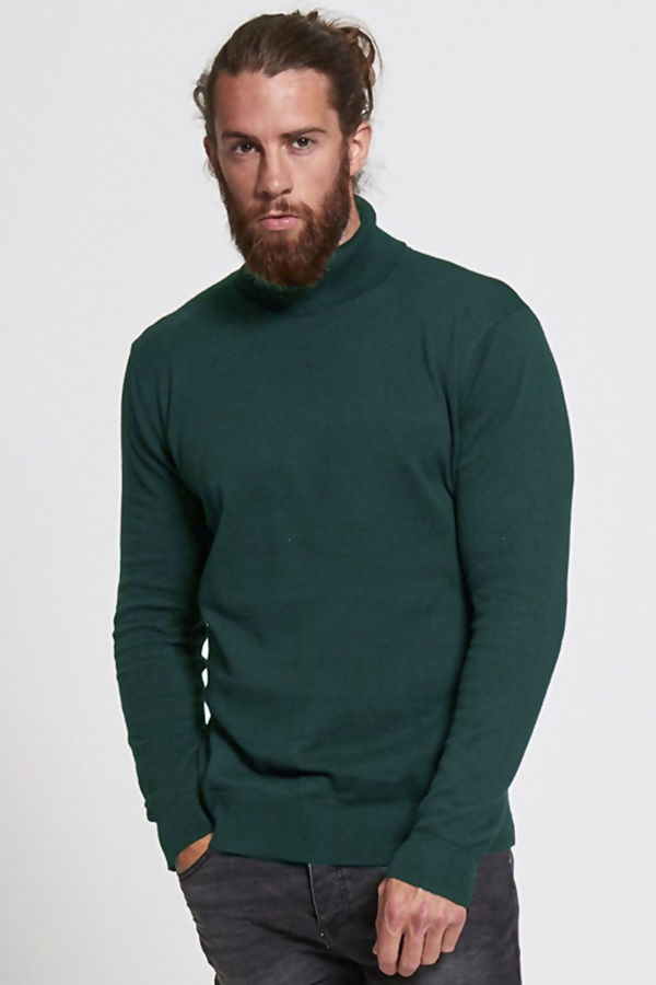 Khaki Polo Neck Jumper