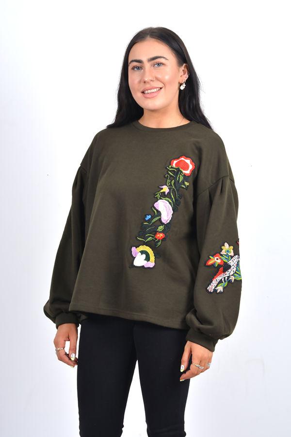 Black Puff Sleeve Embroidered Oversized Sweatshirt