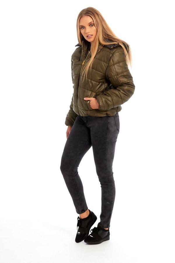Khaki Puffer Fur Hood Jacket
