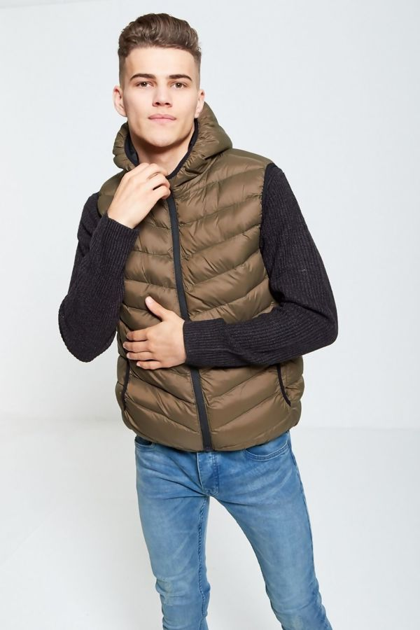 Khaki Quilted Hooded Gilet
