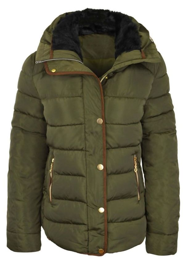 Khaki Quilted Puffer Fur Collar Hooded Jacket