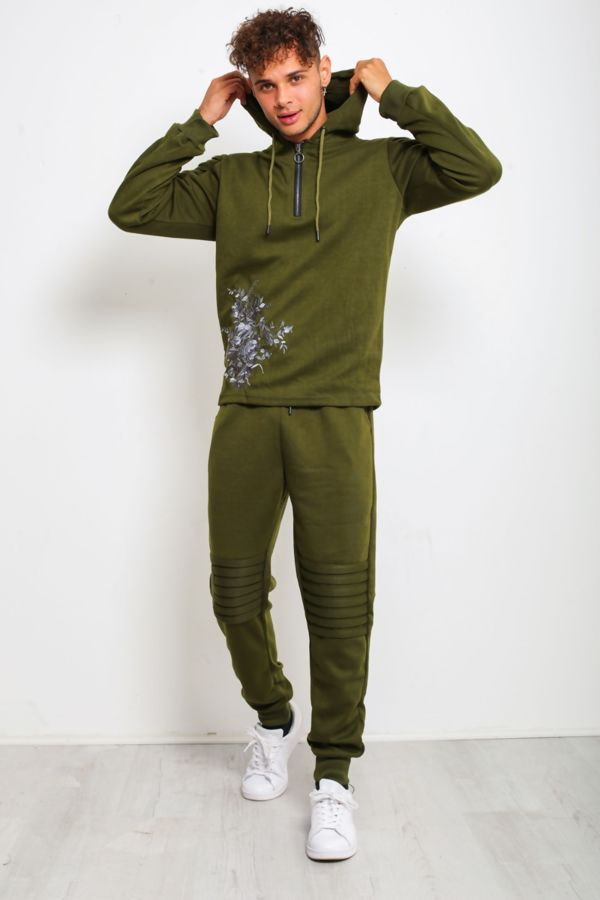 Khaki Ribbed Floral Embroidered Pullover Tracksuit