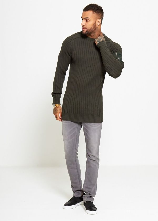 Khaki Ribbed Shoulder Pocket Crew Jumper