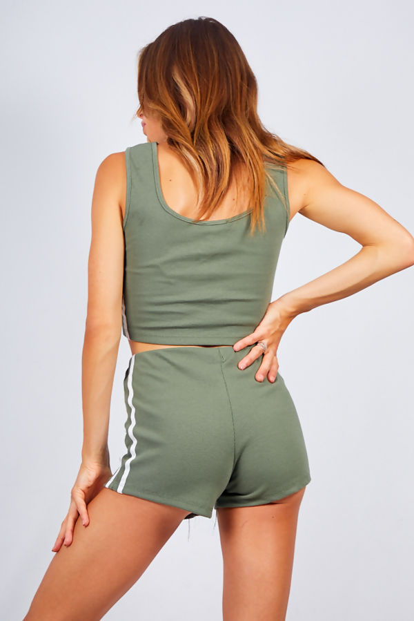 Khaki Ribbed Side Stripe Crop Top And Shorts Loungewear Set