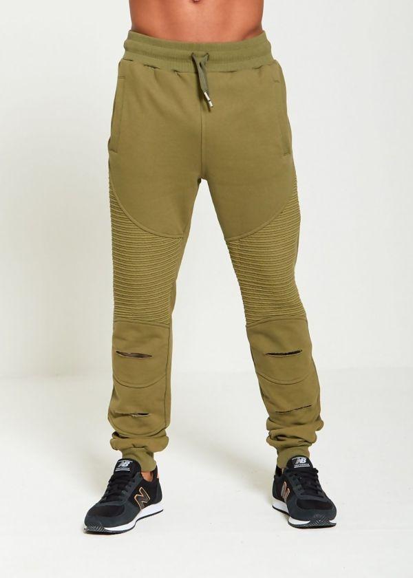 Khaki Ribbed Skinny Jogging Bottom