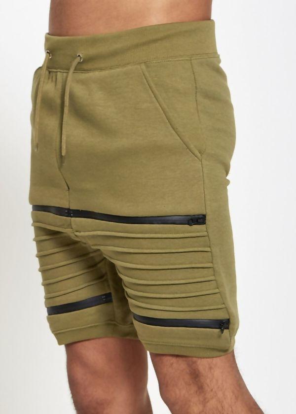 Khaki Ribbed Sweat Shorts