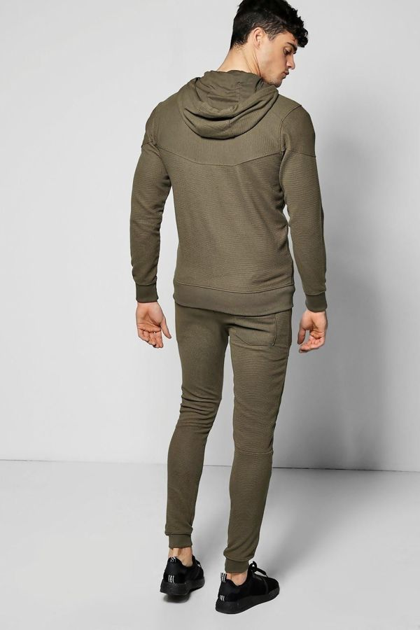 Khaki Ribbed Throw On And Go Tracksuit