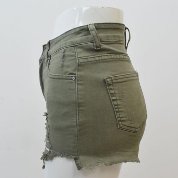 Khaki Ripped Frayed Hem Shorts