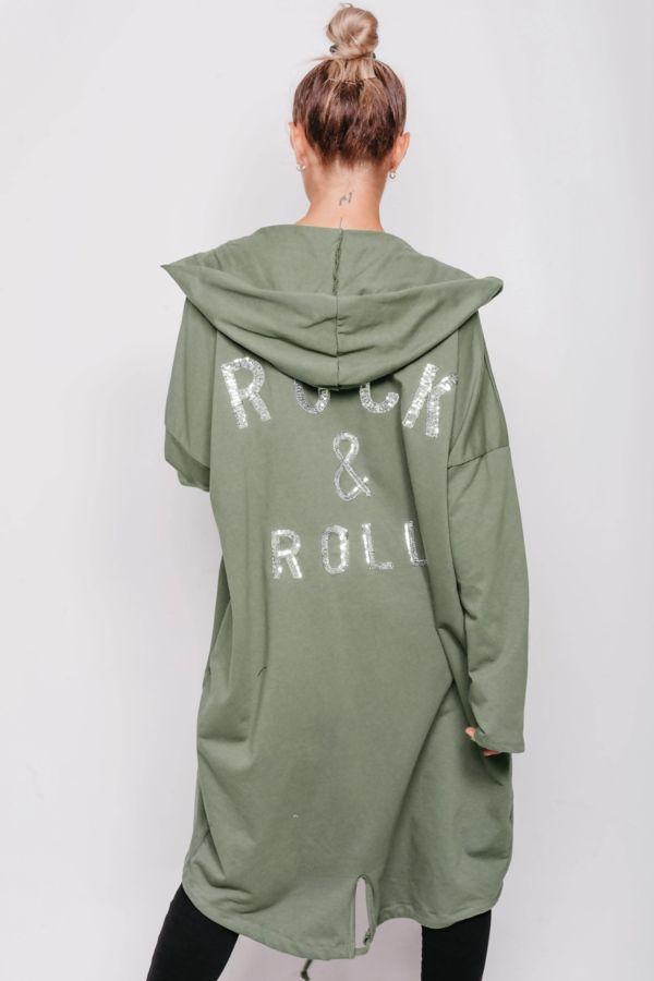 Khaki Sequin Rock & Roll Hooded Cardigan