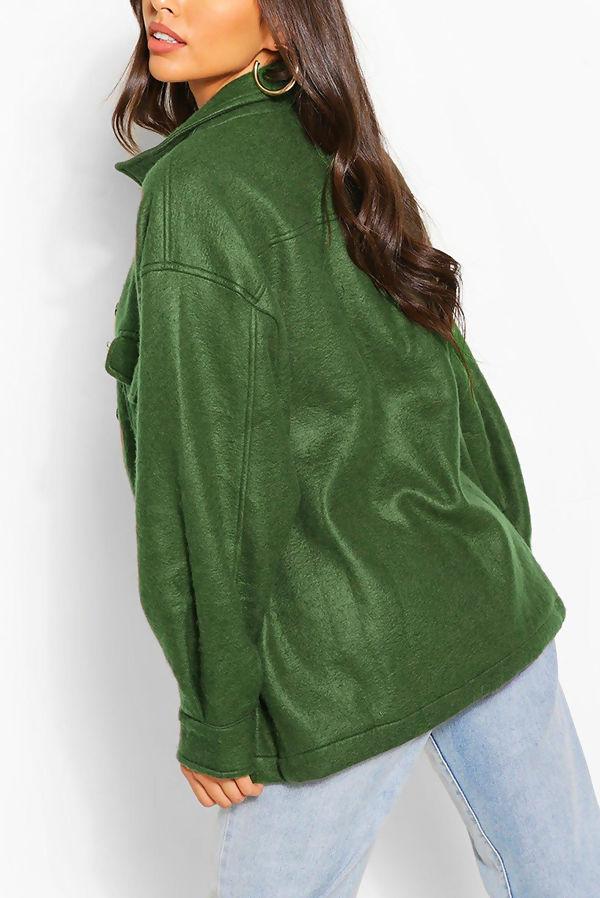 Khaki Soft Touch Oversized Shacket