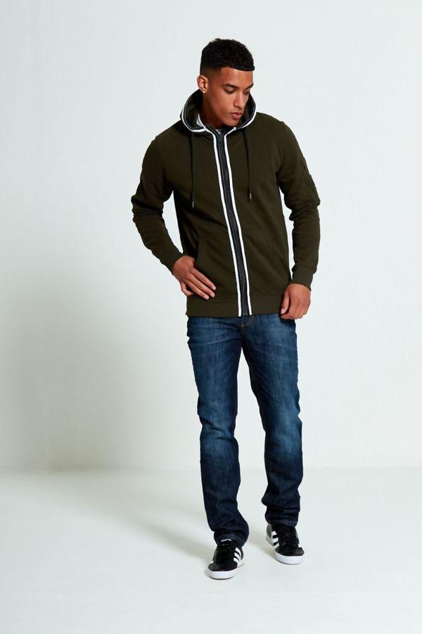 Khaki Stripe Slash Pocket Hoodie
