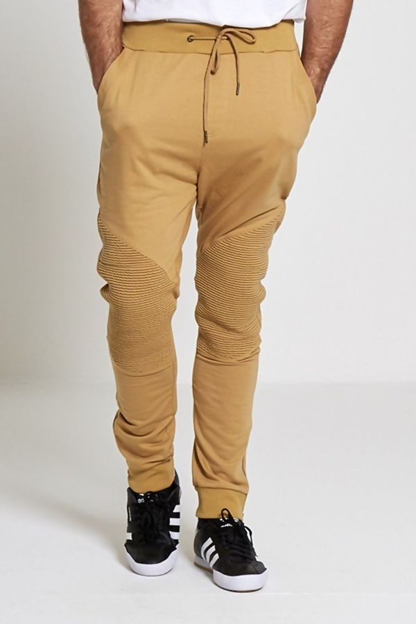 Khaki Stylish Knee Ribbed Trousers