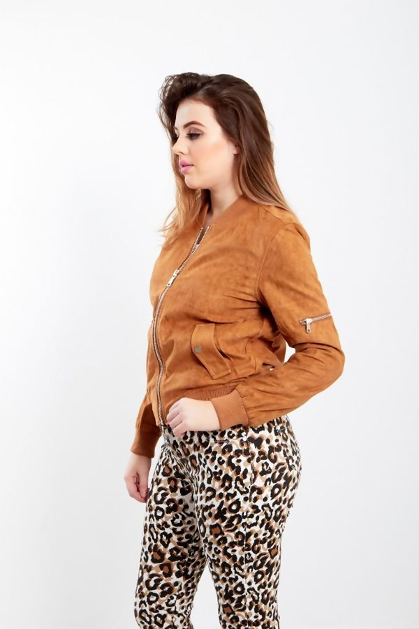 Khaki Suede Zip Up Bomber Jacket