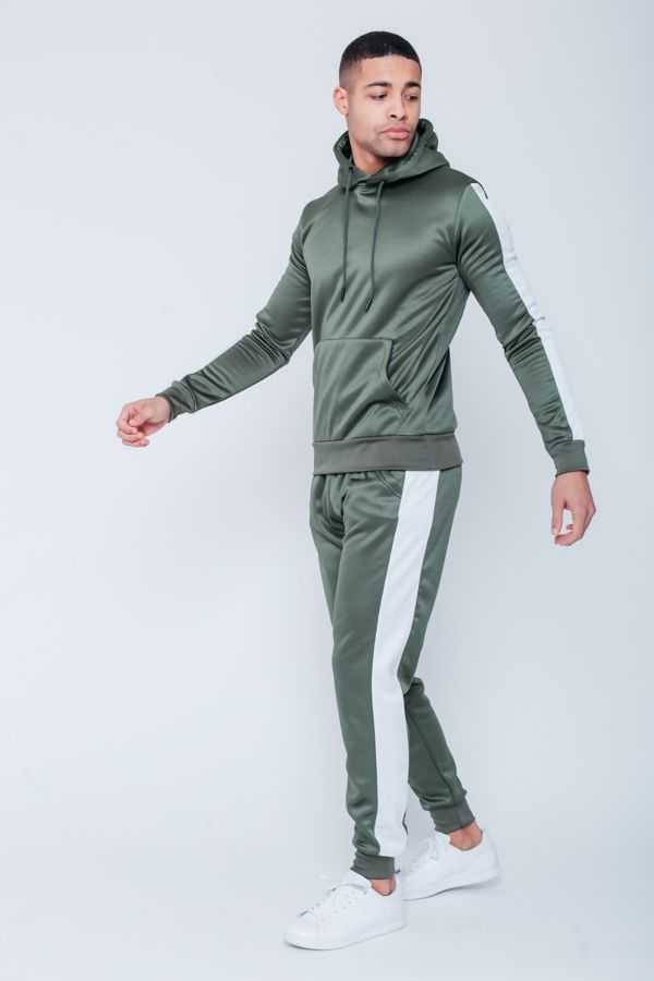Khaki White Tape Pouch Pullover Tracksuit