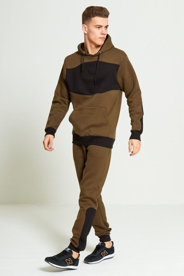 Khaki With Black Contrast Panel Skinny Fit Tracksuit