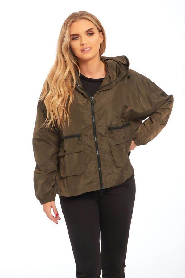 Khaki Zip Through Crop Cagoule Jacket