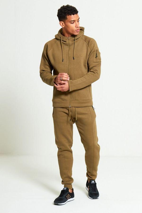 Khaki Zip Through Skinny Fit Hood Tracksuit