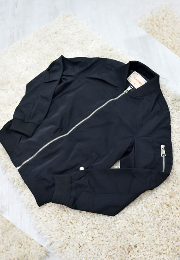 Kids Black Bomber Jacket