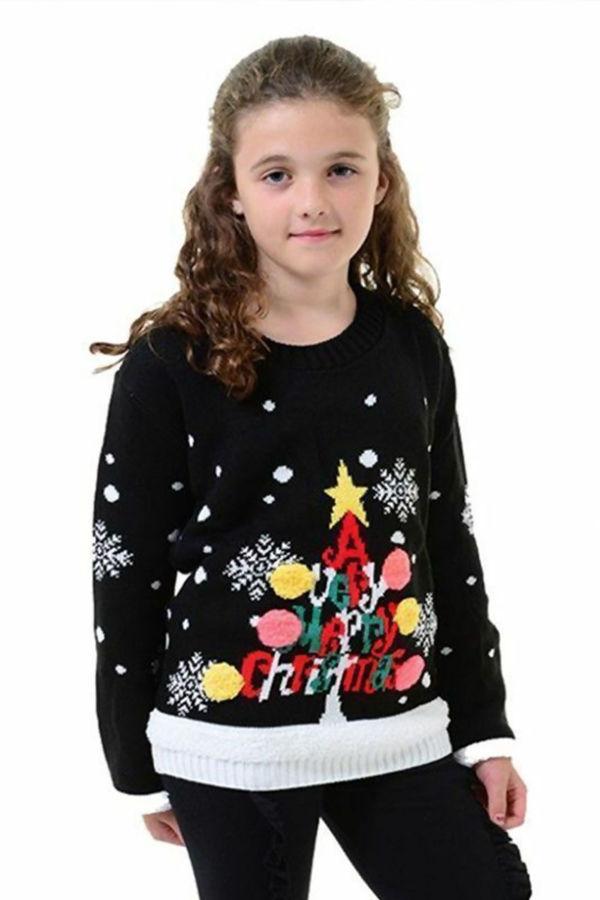 Kids Black Tree Pom Pom Christmas Jumper