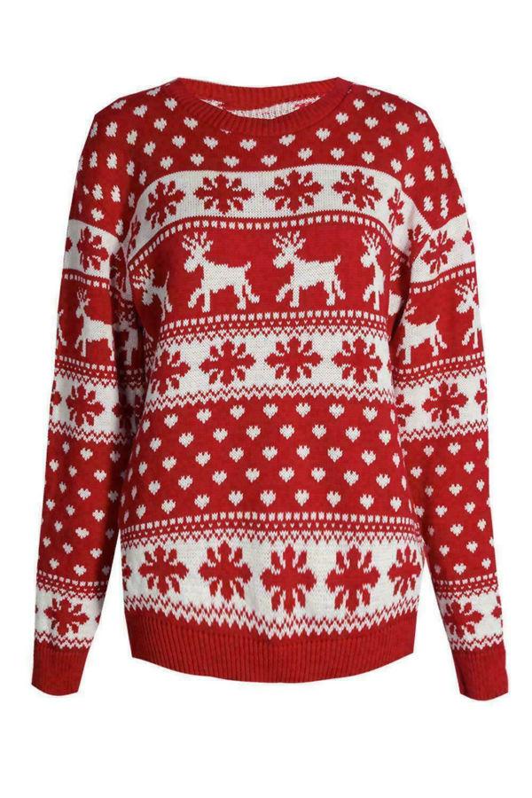Kids Cream Snowflake and Reindeer Christmas Jumper