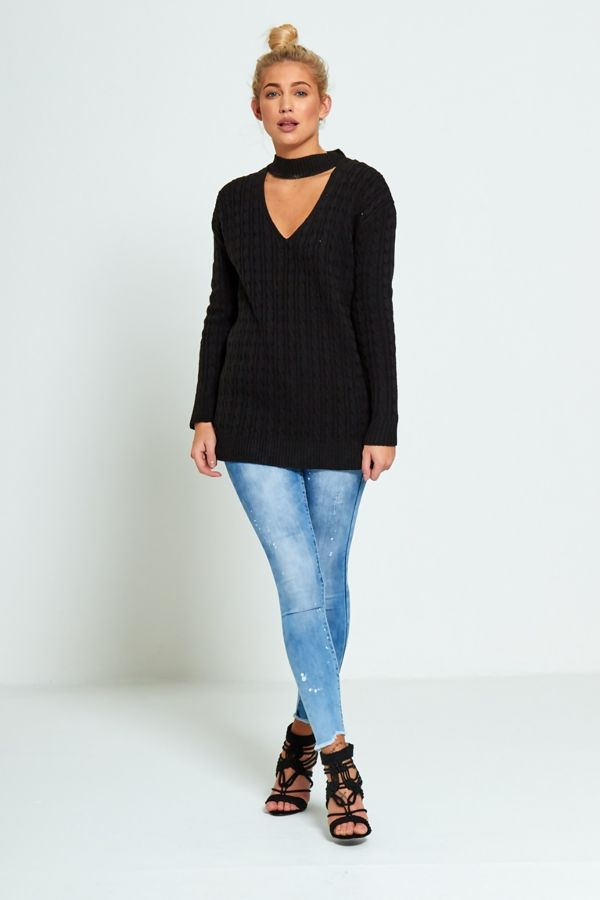 Choker Neck Knitted Jumper