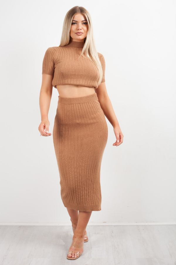 Knit Crop Top And Skirt Co-ord Set