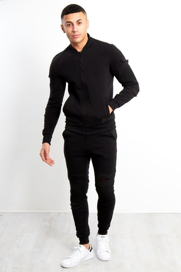 Black With Red Patch Cut Tracksuit