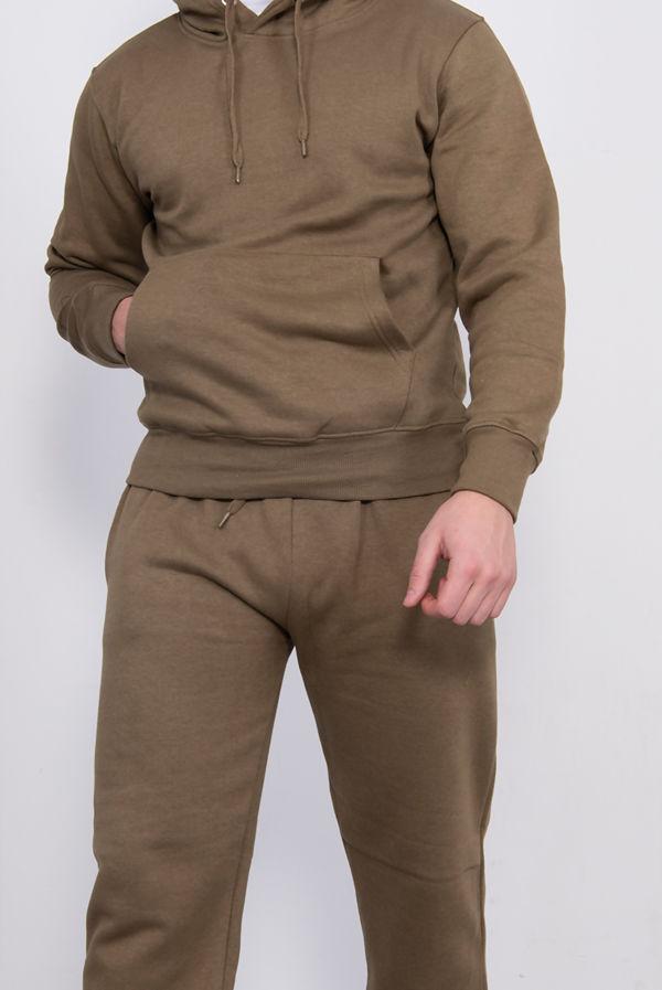 Khaki Basic Pullover Hood Tracksuit