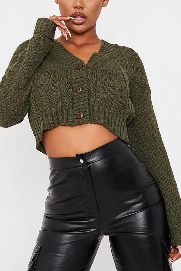 Khaki Cable Cropped Button Up Cardigan