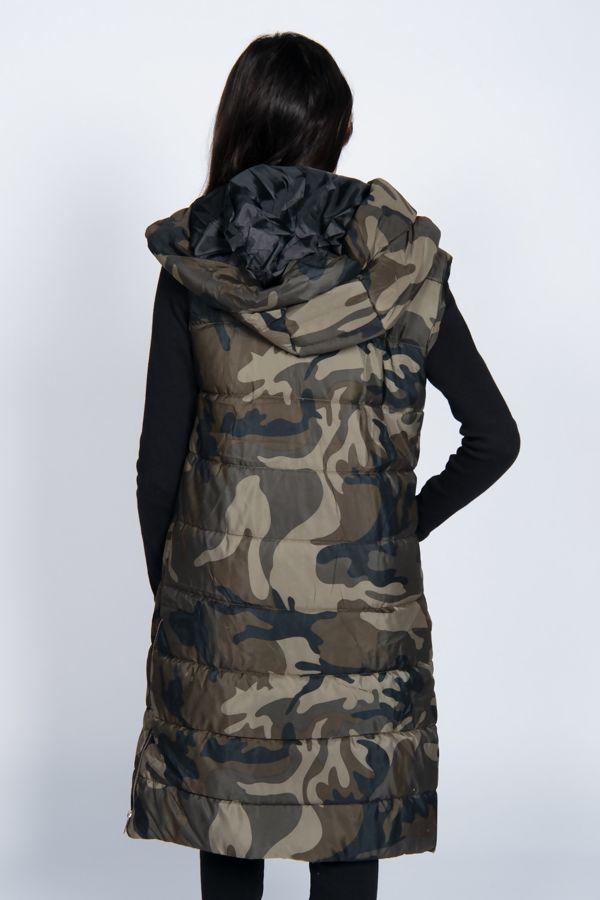 Khaki Camo Longline Hooded Puffer Gilet