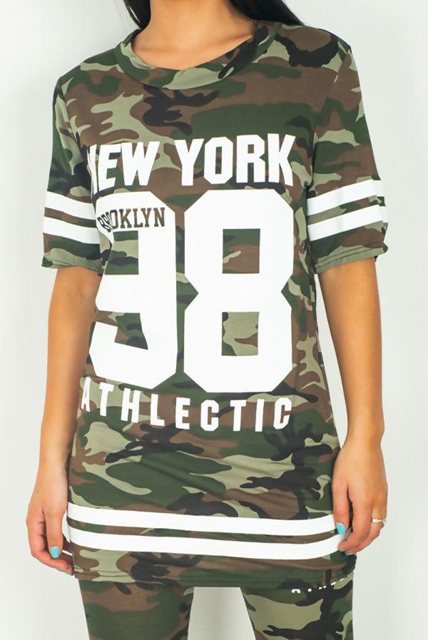 Khaki Camo Print Brooklyn 98 Loungewear Set