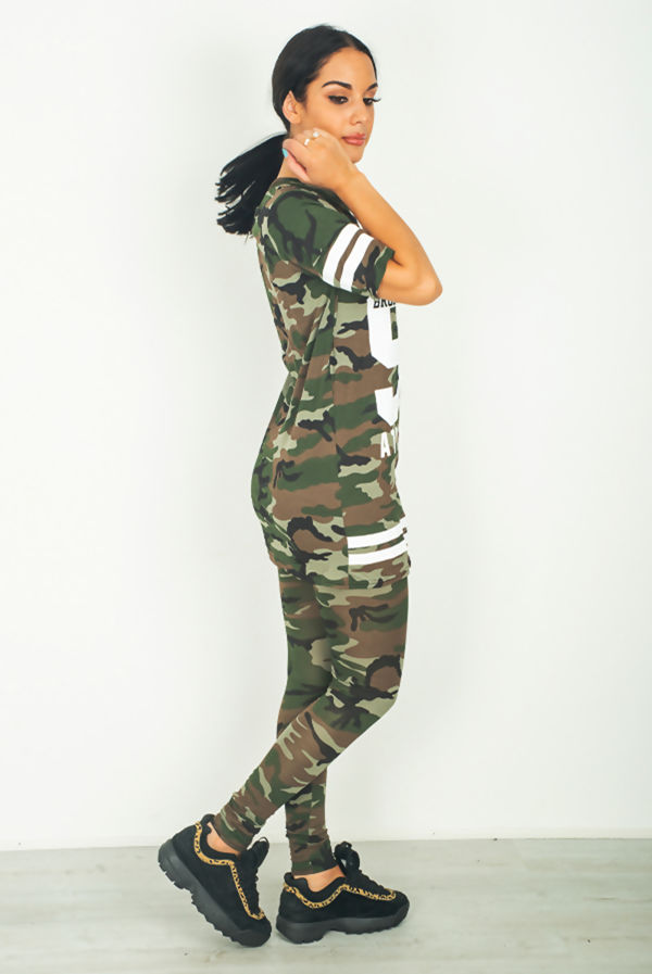 Khaki Camo Print Brooklyn 98 Loungewear Set