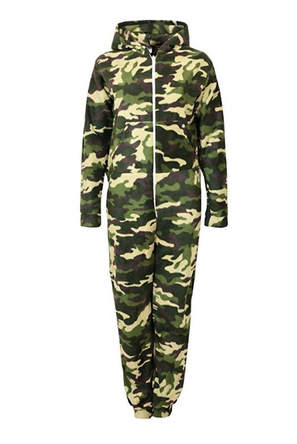 Khaki Camo Zip Up Hooded Fleece Onsie