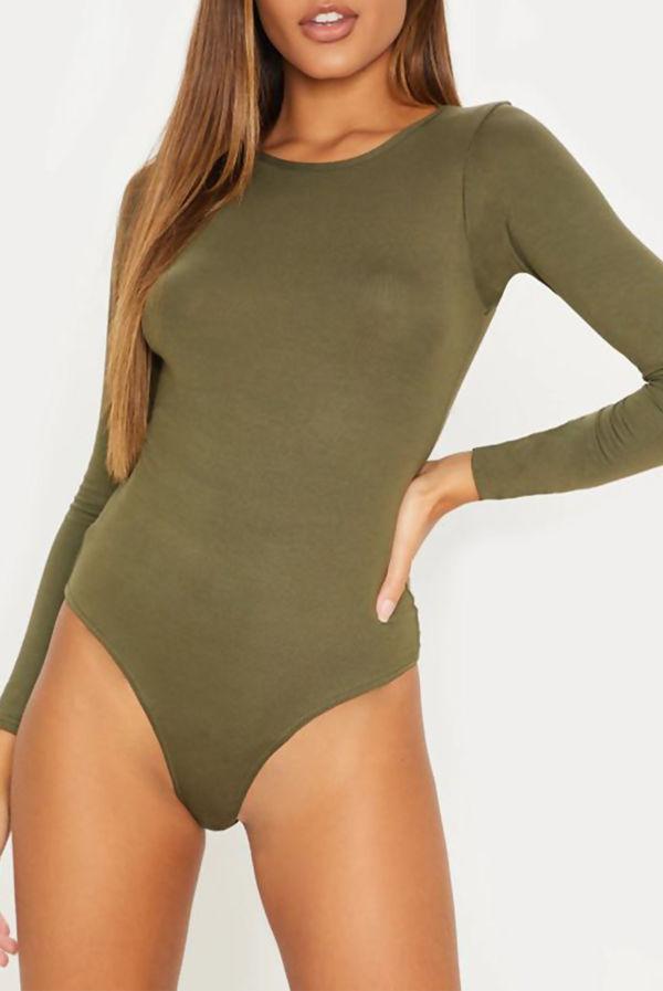 Khaki Crew Neck Long Sleeve Bodysuit